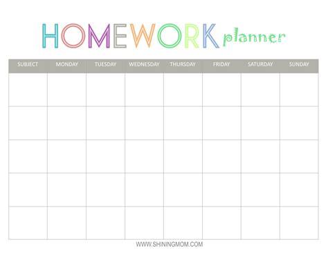 homework printables free printable homework planner