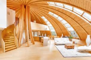 wood interior homes flying saucer shaped house takes design to heights