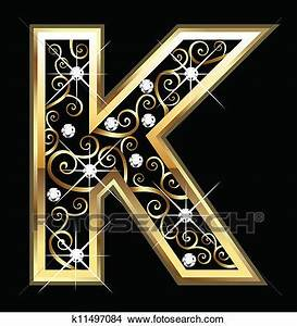 clipart of k gold letter with swirly ornaments k11497084 With gold letter k