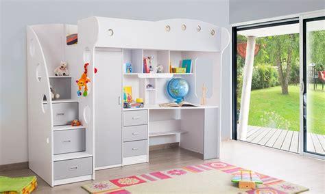 lit mezzanine avec bureau et armoire integres lit mezzanine combin 233 junior groupon shopping