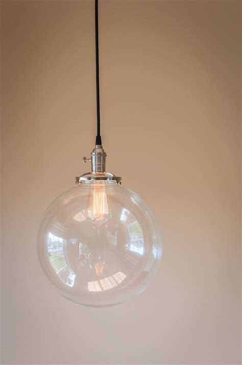 glass hanging light fixtures pendant light 12 round clear glass globe by oldebricklighting