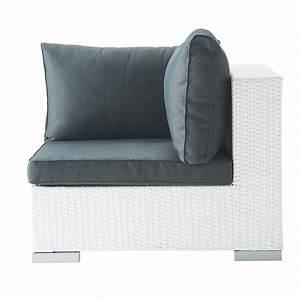 La Maison Du Blanc : angle de canap de jardin en r sine tress e blanc antibes ~ Zukunftsfamilie.com Idées de Décoration