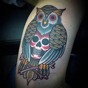 Traditional Owl Skull Tattoo