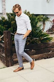 White with Grey Pants Brown Shoes and Shirt
