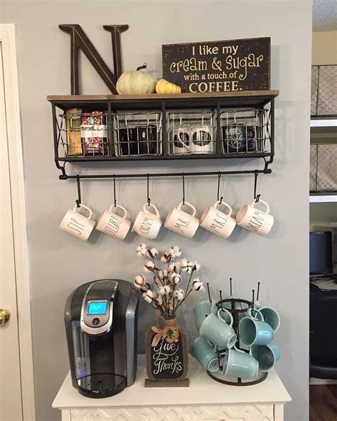 shelf of coffee coffee station metal wood shelf with baskets 7 hooks