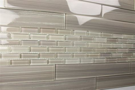 light gray 2x12 painted subway glass tile kitchen for