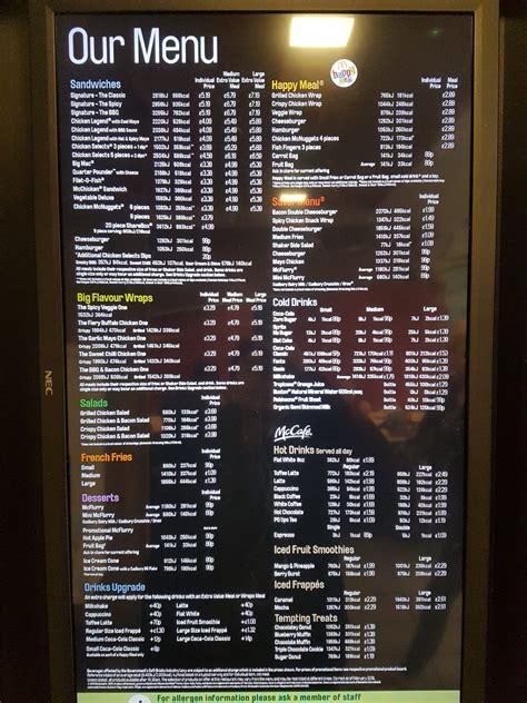 mcdonalds menu fast food menu prices uk