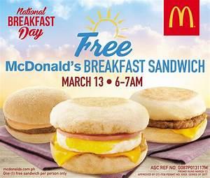 FREE McDonald's Breakfast Sandwich on March 13!   Pinoy Manila