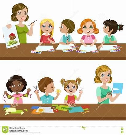 Class Illustration Cartoon Background Vector Children Simple