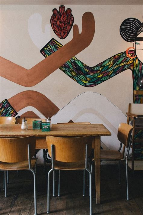 Coffee shop digital art by cary shapiro. CAFE HENRICI   Cafe design, Mural wall art, Comercial interior design