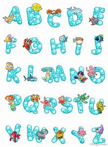4 designer cartoon letters design 01 vector material With ocean alphabet letters