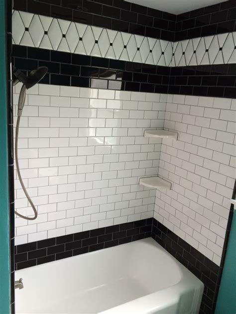 black  white subway tile black bullnose trim