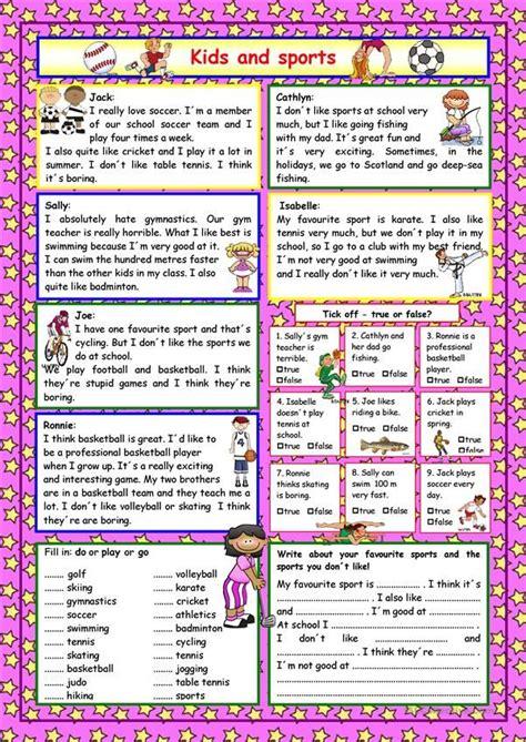 kids  sports key kindergarten worksheets