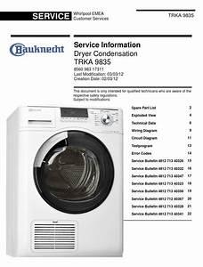 Bauknecht Trka 9835 Dryer Service Manual And Technicians
