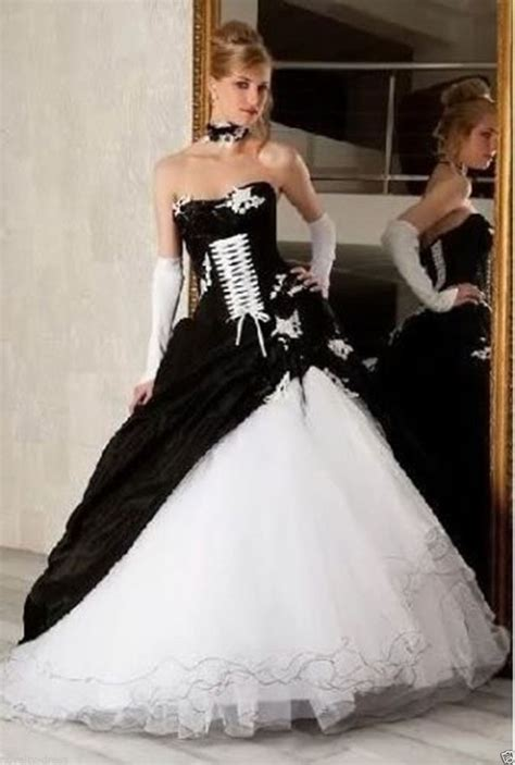 new black white taffeta wedding dress bridal gown custom size 6 16 ebay