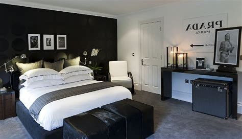 charming mens bedroom ideas  double bed  white