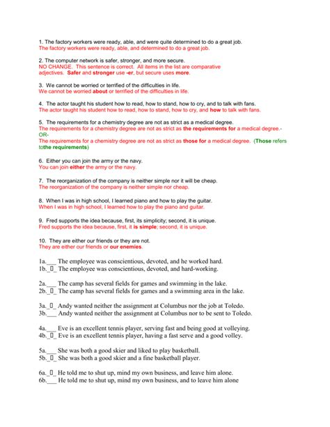 parallel structure worksheet answers dhs