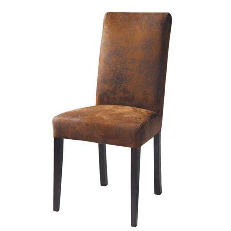 chaise imitation cuir  bois marron arizona maisons du monde