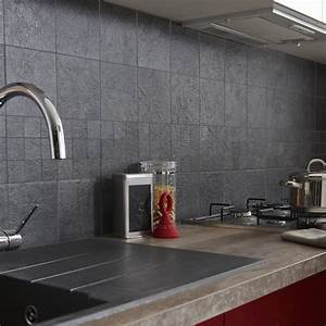 carrelage sol et mur anthracite vestige l15 x l15 cm With carrelage adhesif salle de bain avec eclairage par leds pour cuisine