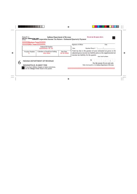 Form It 6 Indiana Corporation Income Tax Return Estimated Quarterly Payment Indiana