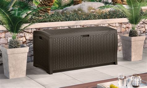 Suncast Wicker Deck Box 73 Gallon by Suncast Wicker Deck Boxes Groupon Goods