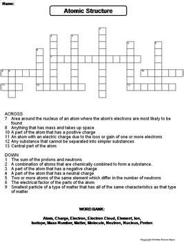 atomic structure worksheet crossword puzzle by science
