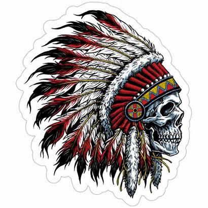 Headdress Skull Native American Chief Sticker Indian