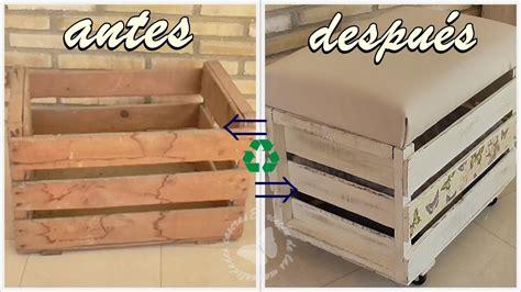 reciclamos una caja de madera en banqueta baul cajon de