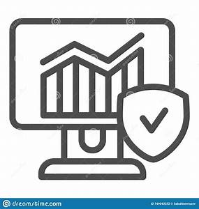 Monitor With Graph And Checkmark Line Icon  Diagram On