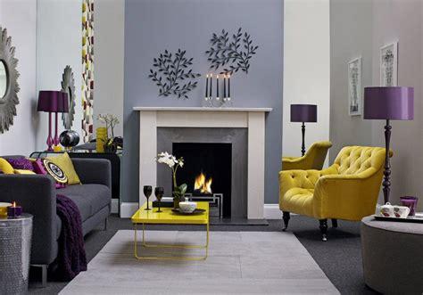 grey living room purple  ochre living room