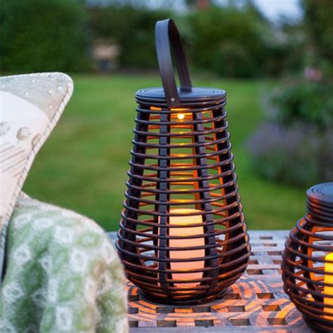 buy rattan solar powered led garden lantern from our