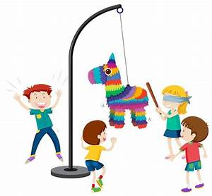 children playing pinata party game - Download Free Vector ...