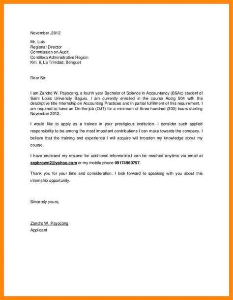 4 application letter sle for ojt resumed