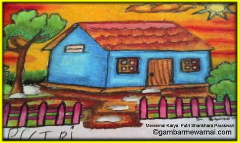 mewarnai gradasi gambar pemandangan rumah