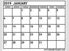 January 2019 Calendar South Africa Calendar Template