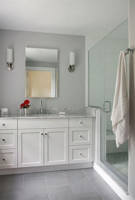 white painted full overlay shaker style custom bath vanity  marble top porcelain tile