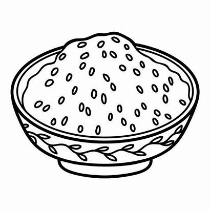 Rice Coloring Bowl Steamed Japanese Bread Illustrations