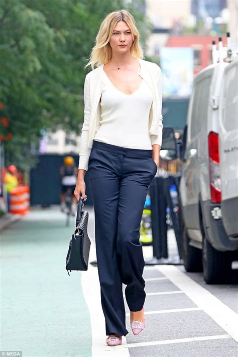 Karlie Kloss Rocks White Top With Plunging Neckline Nyc