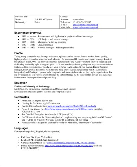 Sle Certified Scrum Master Resume by Sle Scrum Master Resume 8 Exles In Pdf