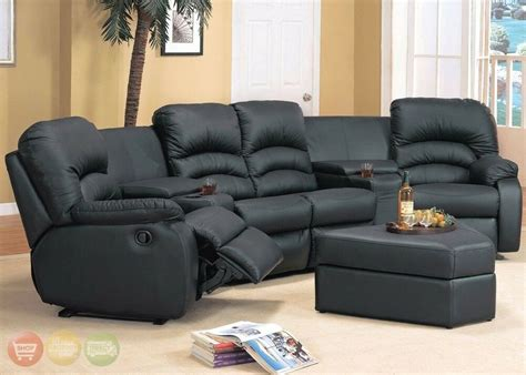 ventura reclining black  brown leather sectional