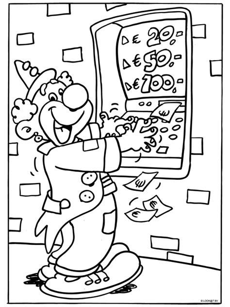 Kleurplaat Geld by Kleurplaat Clown Bij Geldautomaat Kleurplaten Nl