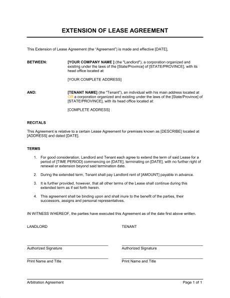 extension   lease template sample form biztreecom