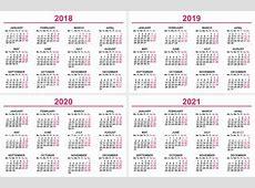 Set Wall Calendar 2018 2019 2020 2021 Grid Template stock