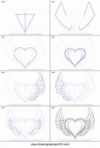 How to Draw Heart with Wings printable step by step ...
