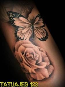 la mariposa y la rosa tatuajes 123