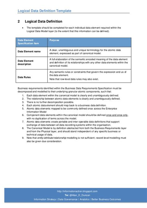 Template Definition 04 Logical Data Definition Template