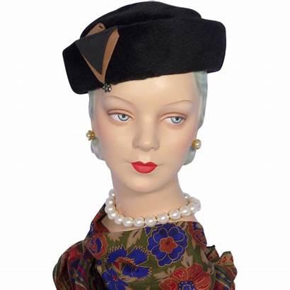 Hat Pillbox 1960s Fur Coralie Felt Rhinestone