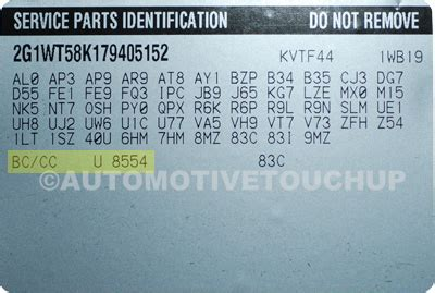 chevrolet paint code locations touch up paint automotivetouchup