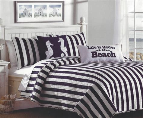 Navy White Quilt by Navy White Cabana Striped Bedding Set Tropical