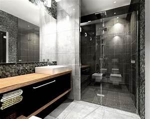 Salle de bain noir et blanc avec meuble en bois et for Salle de bain design avec ensemble salle de bain bois